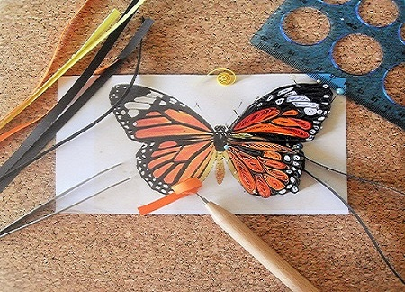 Papillon quilling en cours de realisation loisirs creatifs02