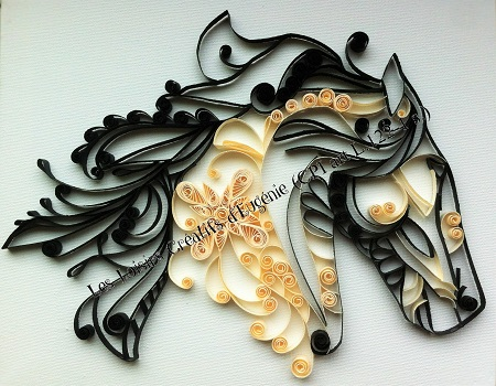tableau quilling t te de cheval. Black Bedroom Furniture Sets. Home Design Ideas