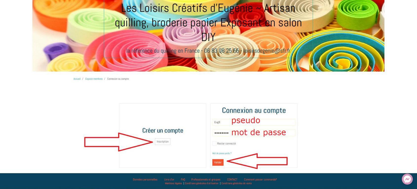 03 creer un compte ou connexion boutique en ligne les loisirs creatifs d eugenie quilling broderie papier