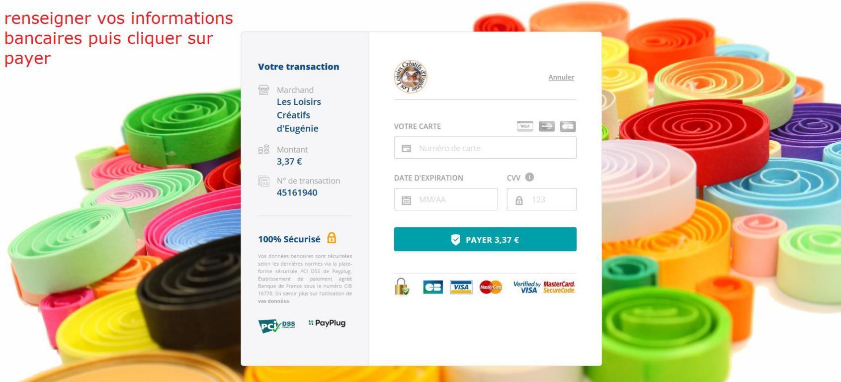 11 paiement par cb renseignet numero de carte boutique en ligne loisirs creatifs eugenie quilling broderie papier