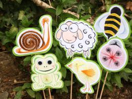 Animaux broderie papier patron escargot abeille mouton poussin coccinelle grenouille loisir creatif modele eugenie