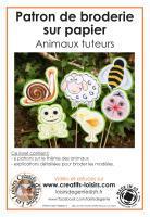 Animaux broderie papier patron escargot abeille mouton poussin coccinelle grenouille loisir creatif modele