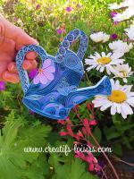 Arrosoir quilling bande papier roule bleu fleur paperolles diy art fait main jardin jardinage deco