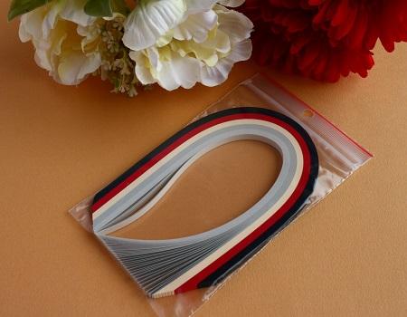 Assortiment bande papier quilling loisir creatif noir rouge gris
