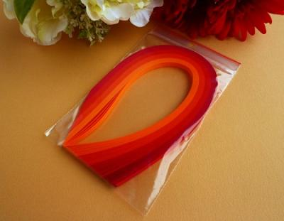 "100 Bandes de papier quilling 5mm assortiment de ""ROUGE ORANGE"""