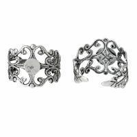 Bague fleur argent veilli ajustable quilling customiser diy decorer bijoux fantaisie vue dessous