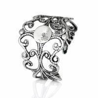 Bague fleur argent veilli ajustable quilling customiser diy decorer bijoux fantaisie