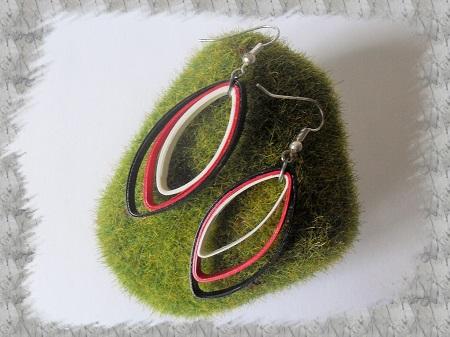 Bijoux boucles d oreille quilling amande rouge loisirs creatifs 01