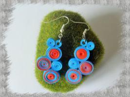 Bijoux boucles d oreille quilling cercles serres bleu et orange 2