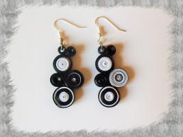 Bijoux boucles d oreille quilling cercles serres noir et blanc loisirs creatifs 02