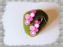 Bijoux boucles d oreille quilling cercles serres rose blanc loisirs creatifs 01 1