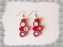 Bijoux boucles d oreille quilling cercles serres rouge et blanc loisirs creatifs 02