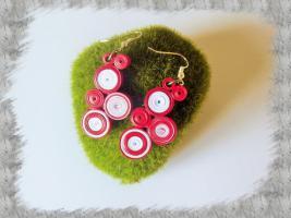 Bijoux boucles d oreille quilling cercles serres rouge et blanc loisirs creatifs 2