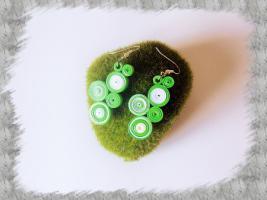 Bijoux boucles d oreille quilling cercles serres vert et blanc loisirs creatifs 2