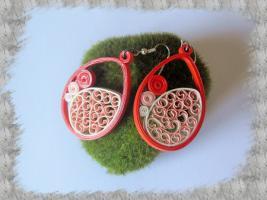 Bijoux boucles d oreille quilling dentelle orange 01