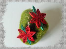 Bijoux boucles d oreille quilling poinsettia loisirs creatifs 2
