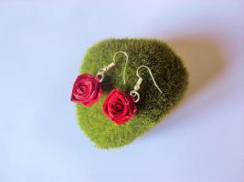 Bijoux boucles d oreille quilling rose loisirs creatifs 01