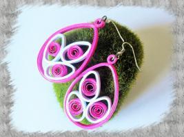 Bijoux boucles d oreille quilling rose
