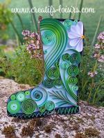 Botte quilling papier roule loisirs creatifs eugenie diy jardin vert jardinage paperolles fait main artisanat art
