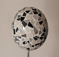 Boule mosaique deco de jardin grise 1