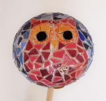 """Kit mosaïque boule tuteur de jardin """"Hibou"""""""