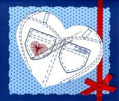 Broderie papier coeur jeans pantalon bleu rouge blanc loisir creatif eugenie patron modele