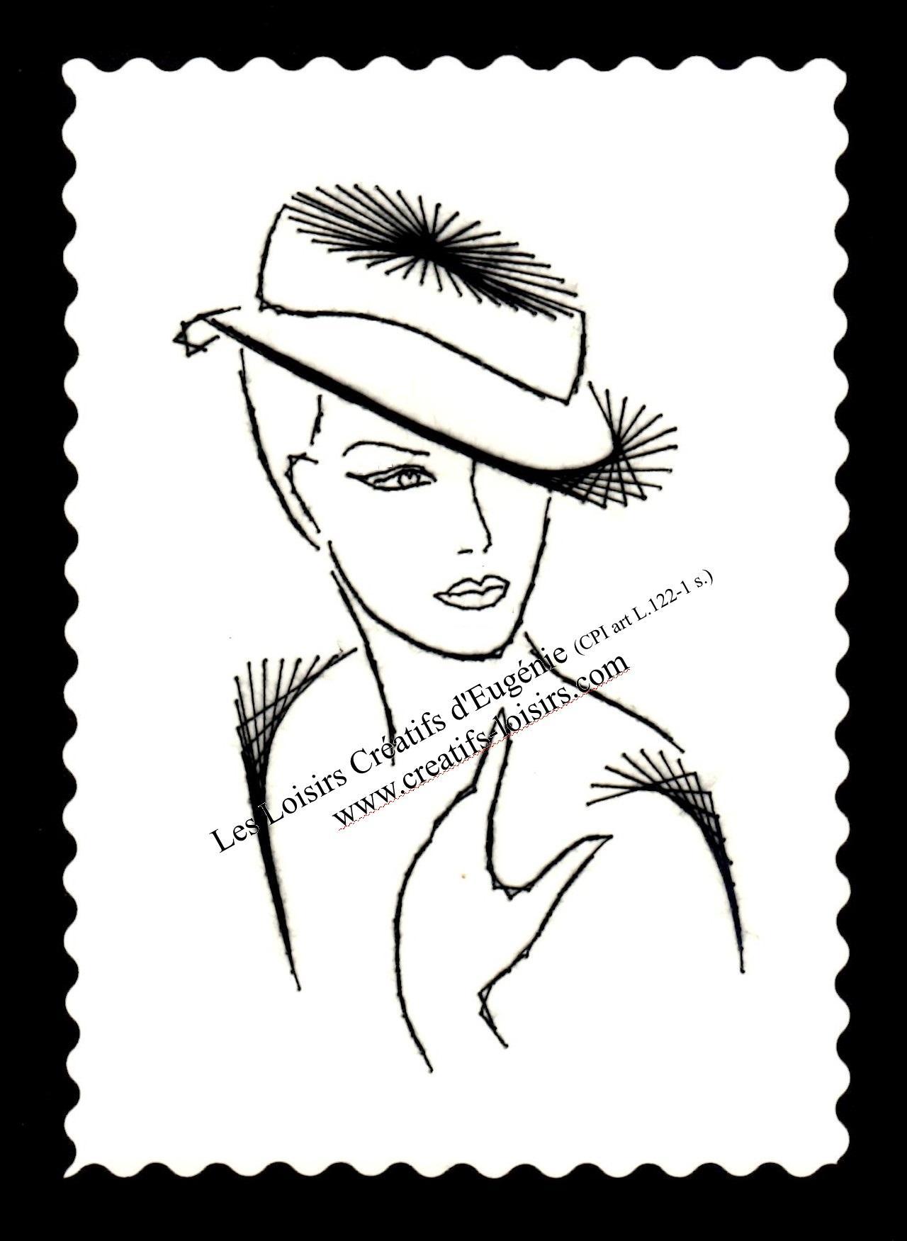 Broderie papier femme au chapeau et cheveux courts