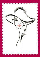 Broderie papier femme au chapeau meche de cheveux loisir creatif eugenie