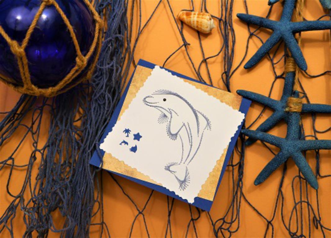 Broderie sur papier carte a broder dauphin loisir creatif eugenie 01