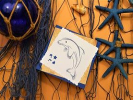 Broderie sur papier carte a broder dauphin loisir creatif eugenie 3