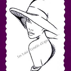 Broderie sur papier carte a broder la femme au chapeau loisirs creatifs d eugenie