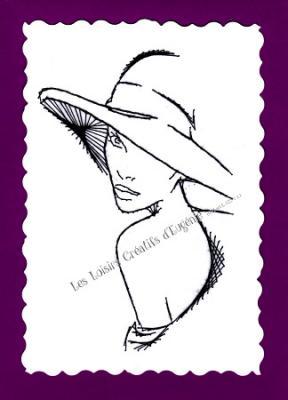 """Kit broderie sur papier carte à broder """"La femme au chapeau"""""""