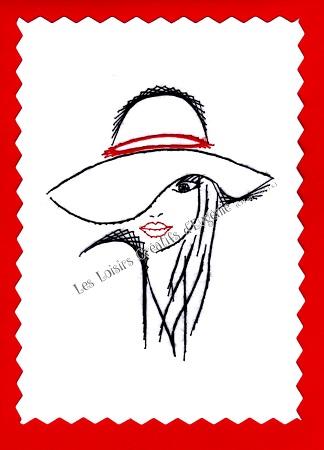 Broderie sur papier carte a broder la fille au chapeau les loisirs creatifs d eugenie
