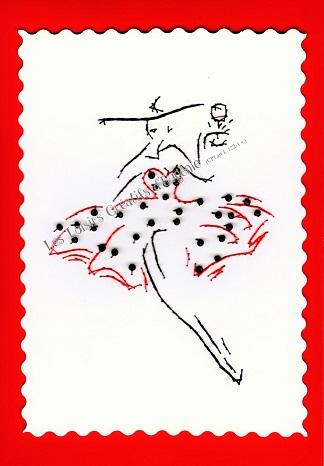 Broderie sur papier carte a broder le petite robe rouge a pois noirs loisirs creatifs d eugenie