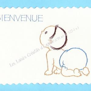 Broderie sur papier carte a broder loisirs creatifs bebe a 4 pattes garcon