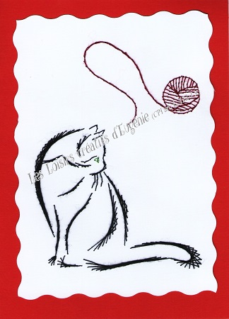 Broderie sur papier carte a broder loisirs creatifs chat a la pelote