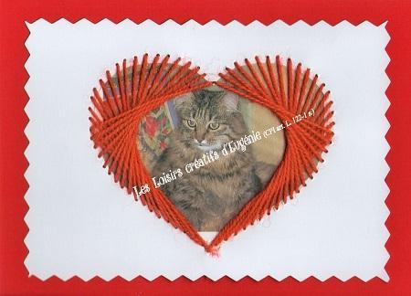 Broderie sur papier carte a broder loisirs creatifs coeur cadre enfant phot de chat
