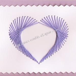 Broderie sur papier carte a broder loisirs creatifs coeur carde enfant parme violet