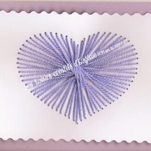 Broderie sur papier carte a broder loisirs creatifs coeur enfant parme violet