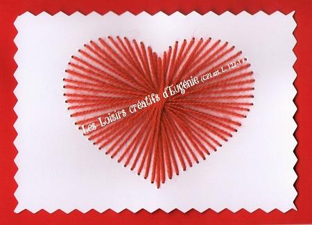 Broderie sur papier carte a broder loisirs creatifs coeur enfant rouge