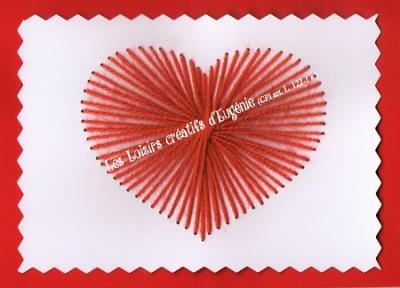 """Kit broderie sur papier carte à broder enfant """"Coeur"""""""