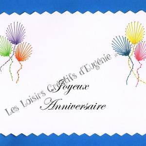 Broderie sur papier carte a broder loisirs creatifs joyeux anniversaire bleu