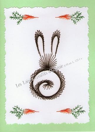 Broderie sur papier carte a broder loisirs creatifs lapin aux carottes vert clair