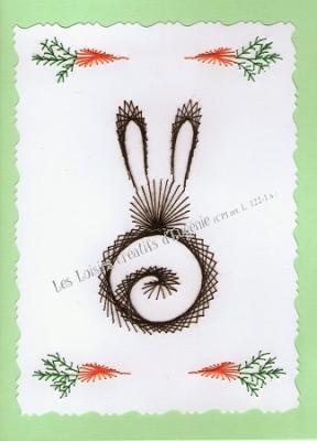"""Kit broderie sur papier carte à broder """"Lapin aux carottes"""""""