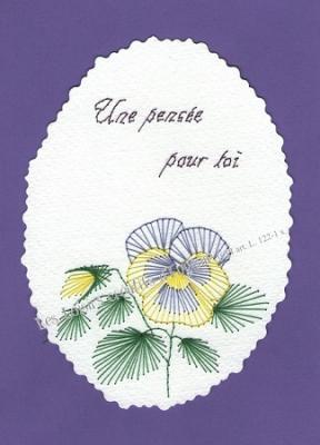 Broderie sur papier carte a broder loisirs creatifs pensee violet