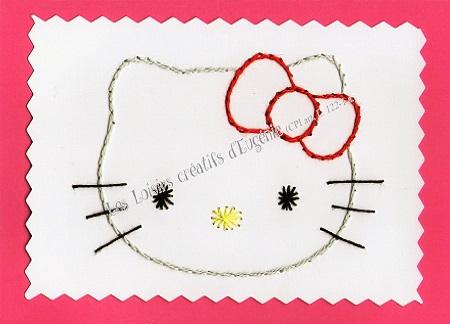 Broderie sur papier carte a broder loisirs creatifs tete de chat rose