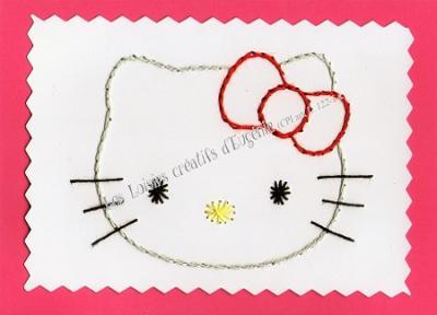 """Kit broderie sur papier carte à broder enfant """"Tête de chat"""""""