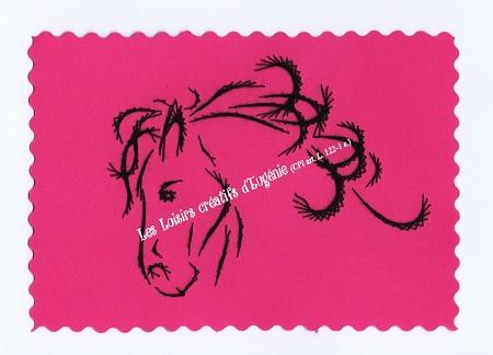 Broderie sur papier carte a broder loisirs creatifs tete de chavel rose