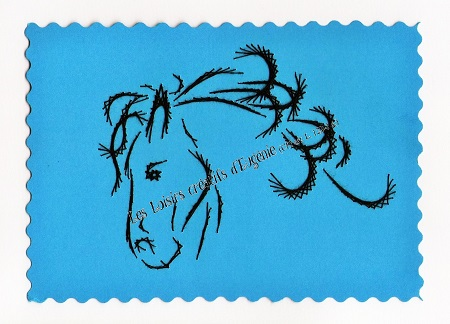 Broderie sur papier carte a broder loisirs creatifs tete de cheval bleu