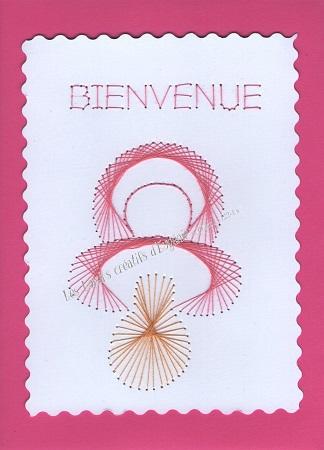 Broderie sur papier carte a broder loisirs creatifs tetine de bebe fille rose